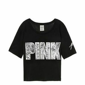 Pink bling crop top crew fit